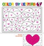 Color by letter. Puzzle for children. Valentine stock illustration