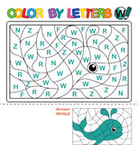 Color by letter.  Puzzle for children. Whale Royalty Free Stock Photos