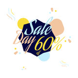 Color lettering for special sale offer sign, up to 60 percent off. Flat illustration EPS 10.  Stock Illustration