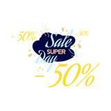 Color lettering for special sale offer sign, up to 50 percent off. Flat  illustration EPS 10.  Royalty Free Stock Photo