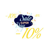 Color lettering for special sale offer sign, up to 10 percent off. Flat  illustration EPS 10.  Royalty Free Stock Images