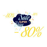 Color lettering for special sale offer sign, up to 80 percent off. Flat illustration EPS 10.  Stock Illustration