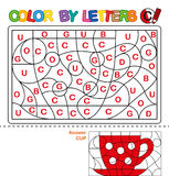 Color by letters. Learning the capital letters of the alphabet. Puzzle for children. Letter C. Cup. Preschool Education. Stock Photos