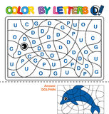 Color by letters. Learning the capital letters of the alphabet. Puzzle for children. Letter D. Dolphin. Preschool Education. Color by letters. Puzzle for Stock Photos