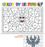 Color by letters. Learning the capital letters of the alphabet. Puzzle for children .Letter V. Vampire Bat. Preschool Education. Color by letters. Puzzle for royalty free illustration