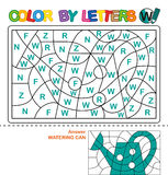 Color by letters. Learning the capital letters of the alphabet. Puzzle for children. Letter W. Watering Can. Preschool Education. royalty free illustration
