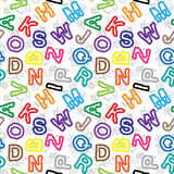 Color letters on white background seamless pattern. Pattern of color letters on white background - seamless vector texture Stock Photo