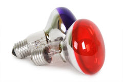 Color light blubs red and purple isolated Stock Photos