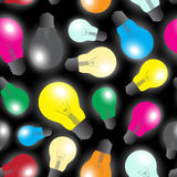 Color light bulbs - light source seamless pattern Royalty Free Stock Photo