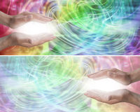 Color Light Healing Therapy Website Header. A bright and a muted version of a male healer with parallel hands with a burst of white energy between on a colorful Royalty Free Stock Image