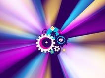 Mechanism Workings Light. Color light spectrum 3d illustration, mechanism gears center, horizontal background Royalty Free Stock Photo