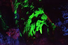 Color and lighting inside cave, Fujian, South of China Royalty Free Stock Images