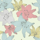 Color lilies. Seamless pattern with pastel color lilies Stock Photo