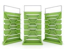Shelf cabinet design with lime green color backing stock illustration