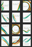 Color line abstract background set. Modern wave template Stock Photography
