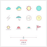 Color line Abstract icons set of local current weather condition Stock Photo