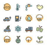 Color line ecology energy icon set 2, vector eps10 Royalty Free Stock Image