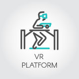Color line icon device person on game platform virtual reality. Color turquoise and dark grey flat simple icon in style line art. Outline symbol with stylized royalty free illustration