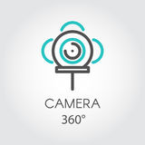 Color line icon new 3D technology view camera 360 degrees. Color turquoise and dark grey flat icon style line art. Outline symbol with stylized image 3D Royalty Free Stock Photo