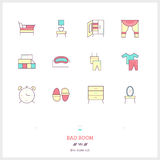 Color line icon set of bad room icons set. Interior and textile Stock Image