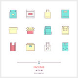 Color line icon set of boxes and package objects, tools elements Royalty Free Stock Image