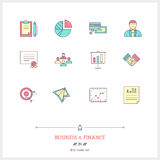 Color line icon set of business, time management objects and too. Ls elements. Management, job project, statistic, business deal, documents, certificate, money Stock Photos