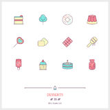 Color line icon set of candy an desserts objects. Logo icons vec Stock Photography