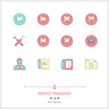 Color line icon set of dentist therapist objects, tools and elem. Ents. Dentist, healthy teeth, diagnosis, patient chart, tooth map, dentist tools, dental caries Stock Image