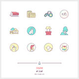 Color line icon set of farm objects and tools elements. Farm log Royalty Free Stock Images