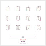 Color line icon set of Folded objects. Scoring scheme booklets, Royalty Free Stock Images