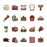 Color line icon set of Food. Pixel perfect icons. stock illustration