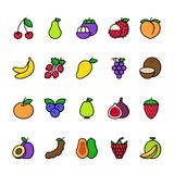Color line icon set of Fruits stock illustration