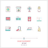 Color line icon set of home equipment objects. Logo icons  Royalty Free Stock Photo
