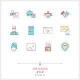 Color line icon set of job search and Human resources objects, t Royalty Free Stock Images