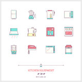Color line icon set of kitchen equipments objects, tools and ele Stock Photo