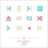 Color line icon set of modern minimalistic media player user int Royalty Free Stock Photo
