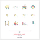 Color line icon set of modern minimalistic media player user int Royalty Free Stock Image
