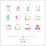 Color line icon set of office document objects. Work with docume Royalty Free Stock Photography