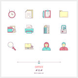 Color line icon set of office equipment, objects and tools eleme Royalty Free Stock Photography