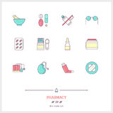 Color line icon set of pharmacy objects and products. Pharmacy L Royalty Free Stock Photography