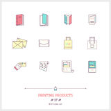 Color line icon set of printing objects elements. Print industry Royalty Free Stock Photography