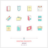Color line icon set of printing objects elements. Print industry Stock Images