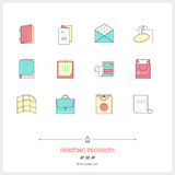 Color line icon set of printing objects elements. Print industry. Typographic industry, booklet, pamphlet, pos, paper bag, t-shirt, folder, poster, book, label Royalty Free Stock Images