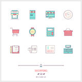 Color line icon set of Shopping, Store objects and tools element Royalty Free Stock Photography