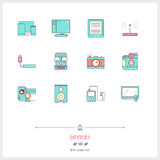 Color line icon set of technology devices icons set. Technology Stock Images