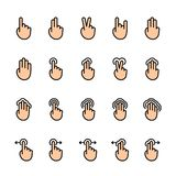 Color line icon set of Touch Gestures vector illustration
