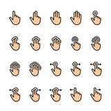 Color line icon set of Touch Gestures stock illustration