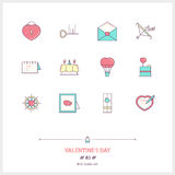 Color line icon set of valentine's day and marriage objects and Stock Photos