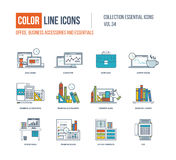 Color Line icons collection. Business accessories and essentials. Royalty Free Stock Photography