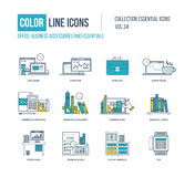 Color Line icons collection. Business accessories and essentials. Stock Image